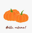 hello autumn hand drawn logo with lettering vector image vector image