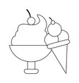 ice cream cup and cone black and white vector image