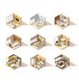 isometric low poly home rooms set vector image vector image
