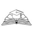line cap graduation over open book vector image