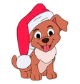 Little puppy with Santa hat vector image