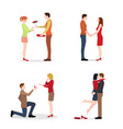 loving couples greet valentine day vector image