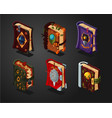 magic book icons set on isolated background vector image