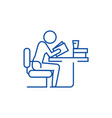 man studyingreading book in library line icon vector image vector image