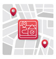 map logo icon with red gradient color vector image vector image