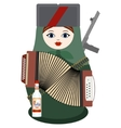 Matryoshka with an accordion a gun and vodka vector image vector image