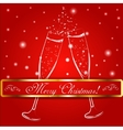 Merry christmas glasses of champagne on a vector image vector image