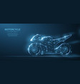 motorcycle polygonal wireframe mesh on blue night vector image