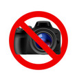 no camera allowed sign on white background vector image