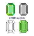 Octagon cabochon gem cut vector image