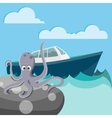 Octopus in the sea waiting for a boat vector image vector image