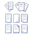 office papers documents and files set icons vector image vector image