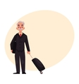 Old senior man in black suit with suitcase in vector image vector image