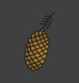 pinecone pine cone color icon vector image