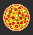 pizza flat icons isolated on dark vector image vector image