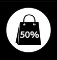 sale 50 percents shopping bag icon design vector image