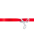 Scissors cut the red ribbon isolated on white vector image vector image