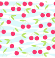 Seamless cherry pattern on striped vector image vector image