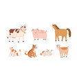 set farm and domestic animals and pets vector image