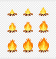 set of camp fire sprites for animation vector image
