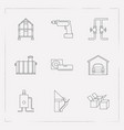 Set of interior icons line style symbols with