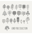 Set of lined trees Simple style vector image