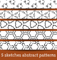 Set of sketches abstract seamless patterns vector image