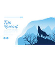 silhouette wolf howling to moon on rock vector image