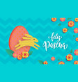 Spanish happy easter greeting card egg and