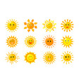 sun emoji funny summer spring sunshine rays sun vector image