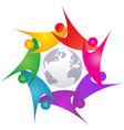 teamwork swoosh people around world logo