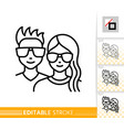Teenager avatar girl and guy face line icon