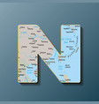 uppercase letter n with map to use monograms vector image
