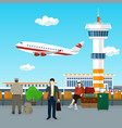 view on airplane and control tower vector image vector image