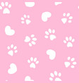 white paws and hearts on pink seamless pattern vector image vector image