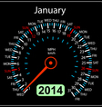 2014 year calendar speedometer car in January vector image vector image