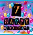 7th birthday celebration greeting card design