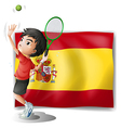 A tennis player in front of the Spanish flag vector image vector image