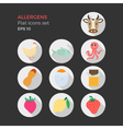 Allergens flat design icons set vector image