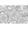 beautiful coloring book page with decorative star vector image vector image