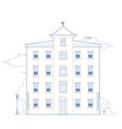 blue drawing of a building vector image vector image