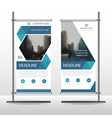 blue hexagon business roll up banner flat design vector image vector image