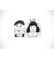 Cartoon hand drawn wedding couple wedding idea des