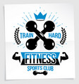 cross fit motivation poster train hard lettering vector image