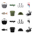 design of fish and fishing icon set of vector image vector image