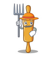 farmer rolling pin character cartoon vector image vector image