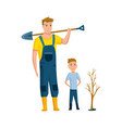 father spend time with son dad and son to plant a vector image vector image