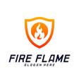 fire shield logo design template shield fire logo vector image
