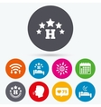 Five stars hotel icons Travel rest place vector image vector image