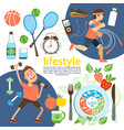 flat healthy lifestyle poster vector image vector image